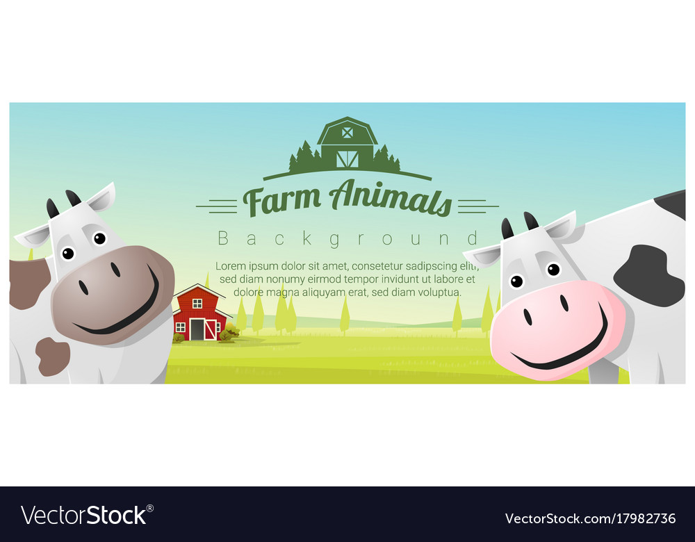 Farm animal and rural landscape with cows vector image