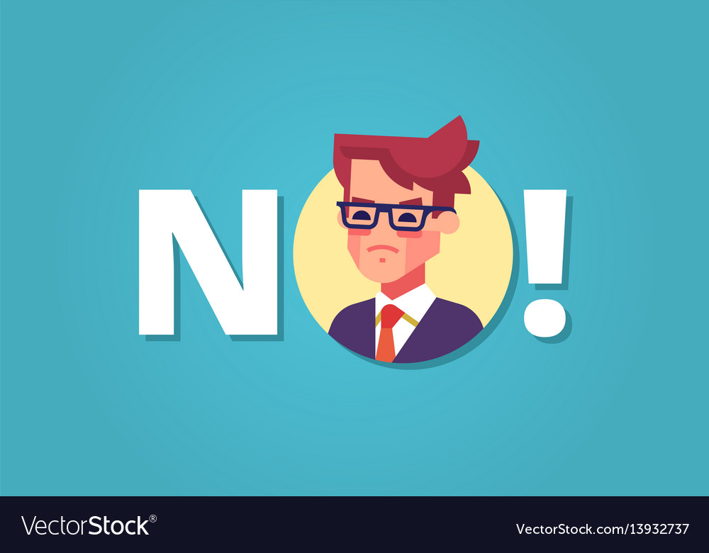 Angry businessman and word no protest vector image