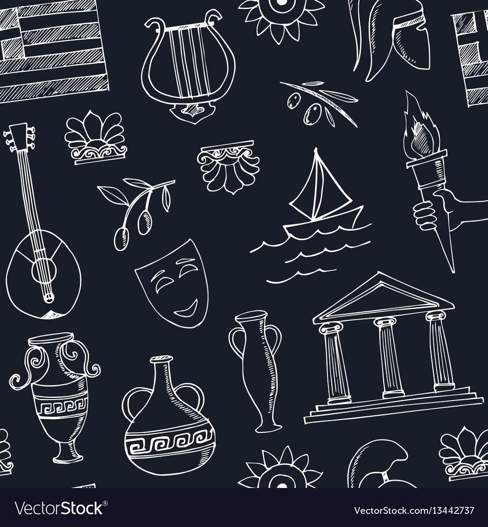 Hand drawn greece travel seamless pattern vector image