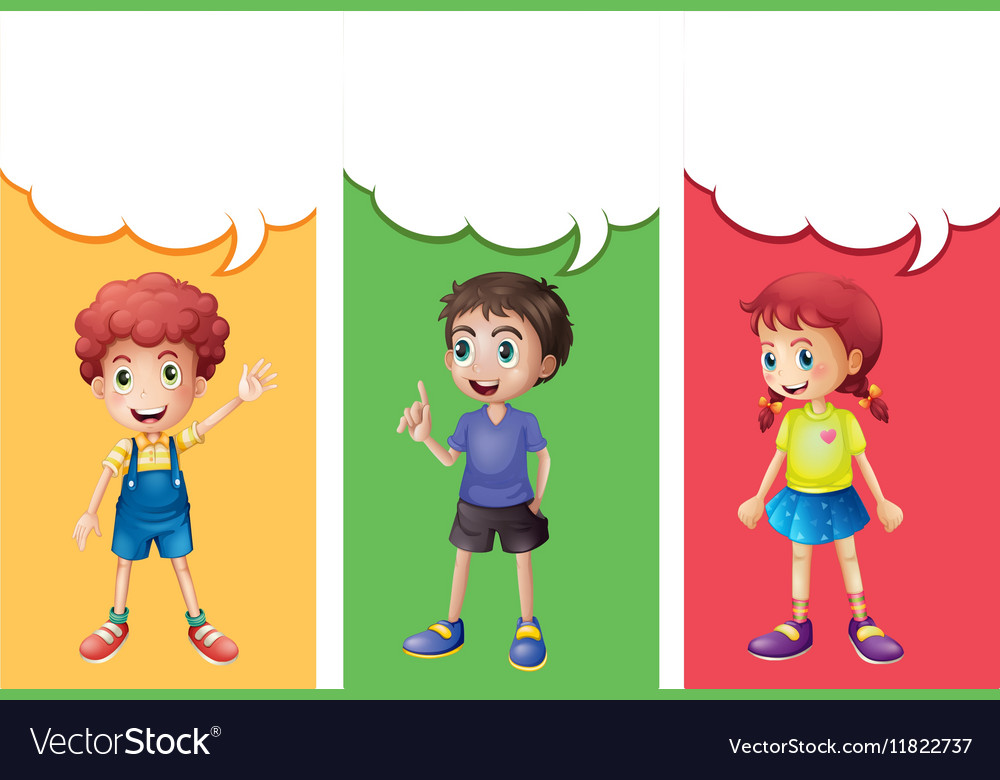 Speech bubble template with kids vector image