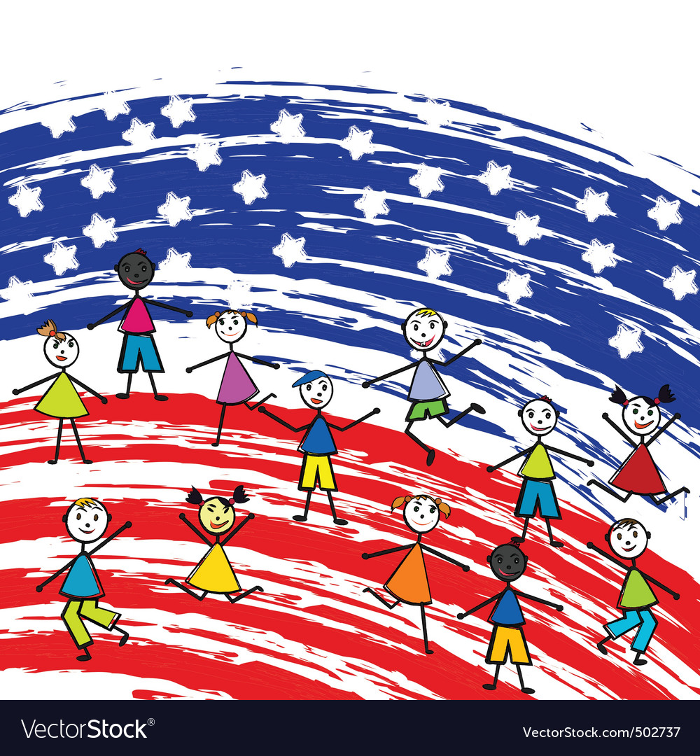 Stylized American flag and children vector image