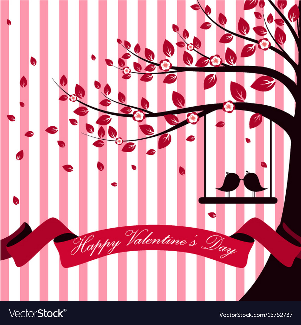 Valentine day with tree autumn and pink ribbon whi vector image
