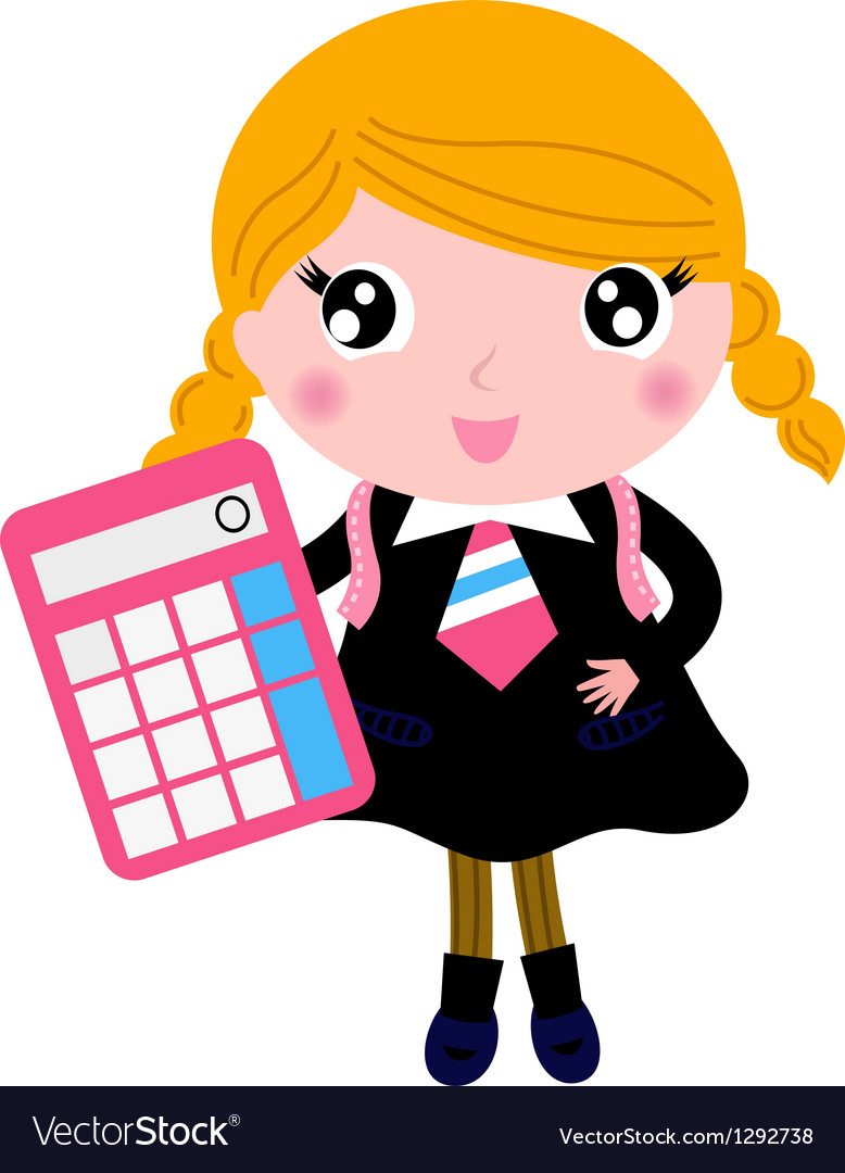 Beautiful blond school girl with calculator vector image