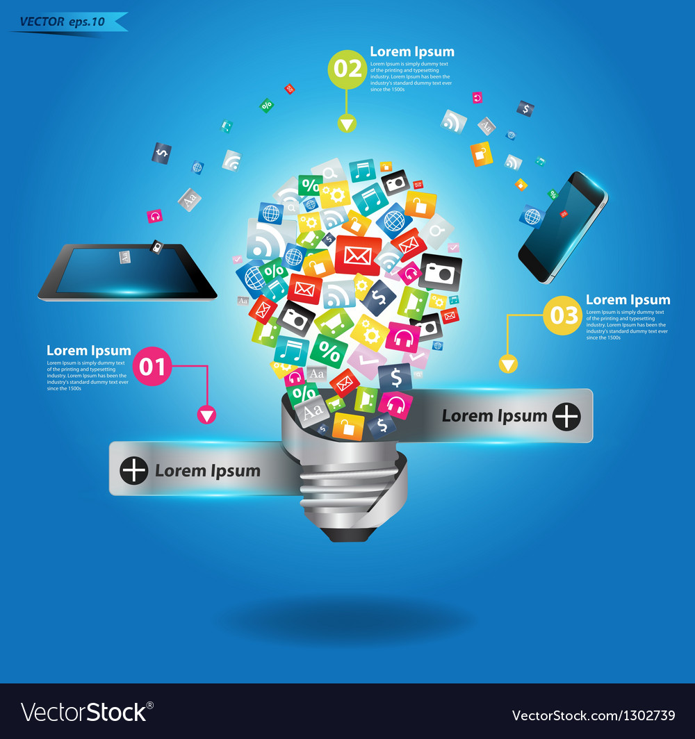 Creative light bulb with cloud application icon vector image