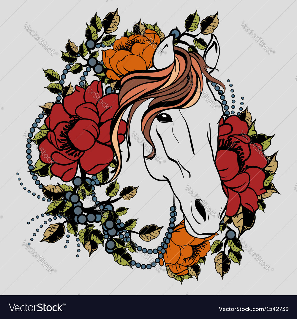 Horse tattoo 2 Vector Image