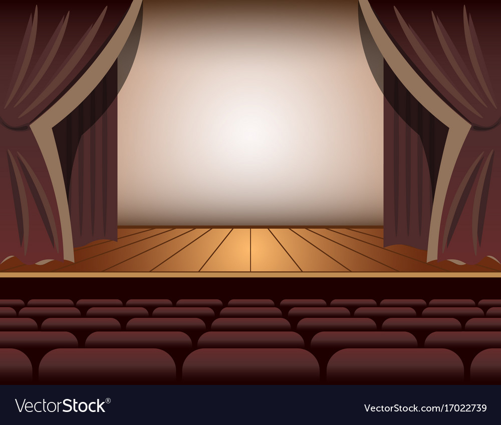 A theater stage with a curtain and seats vector image