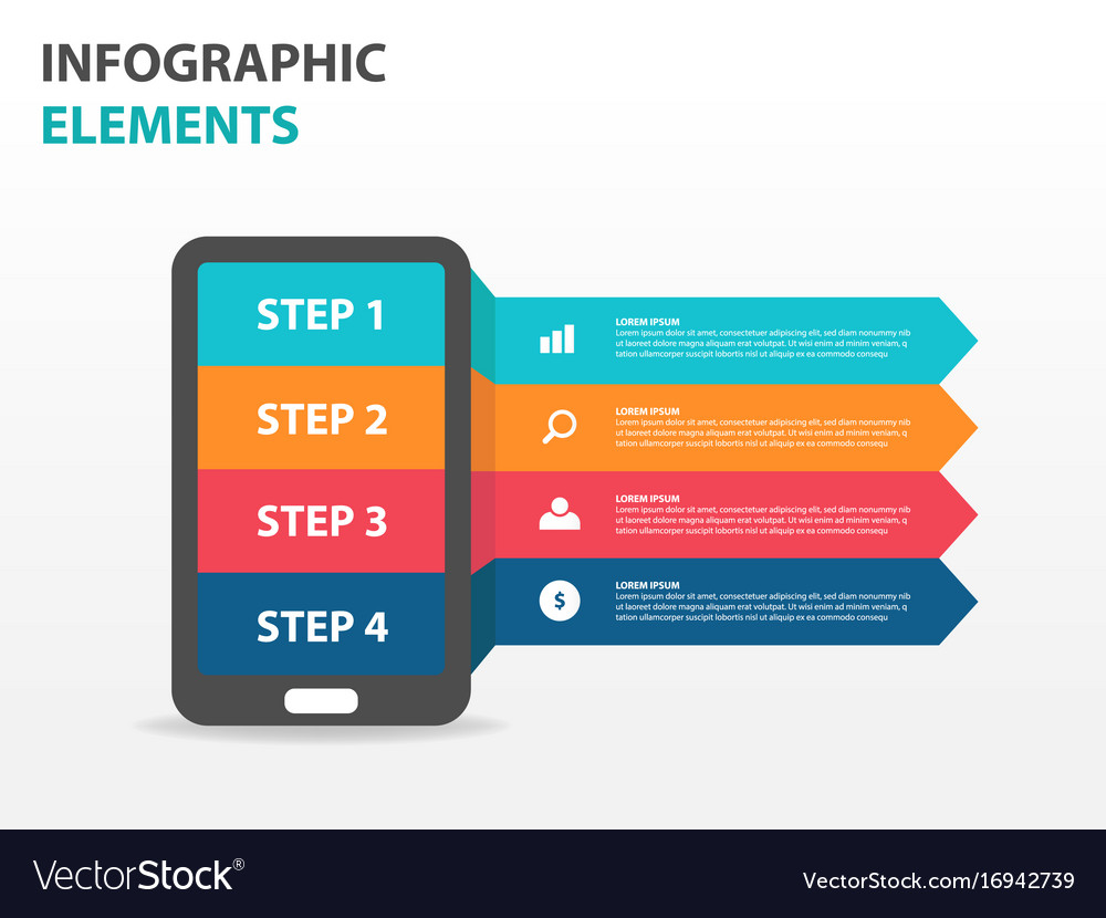 Colorful smart phone business infographics vector image