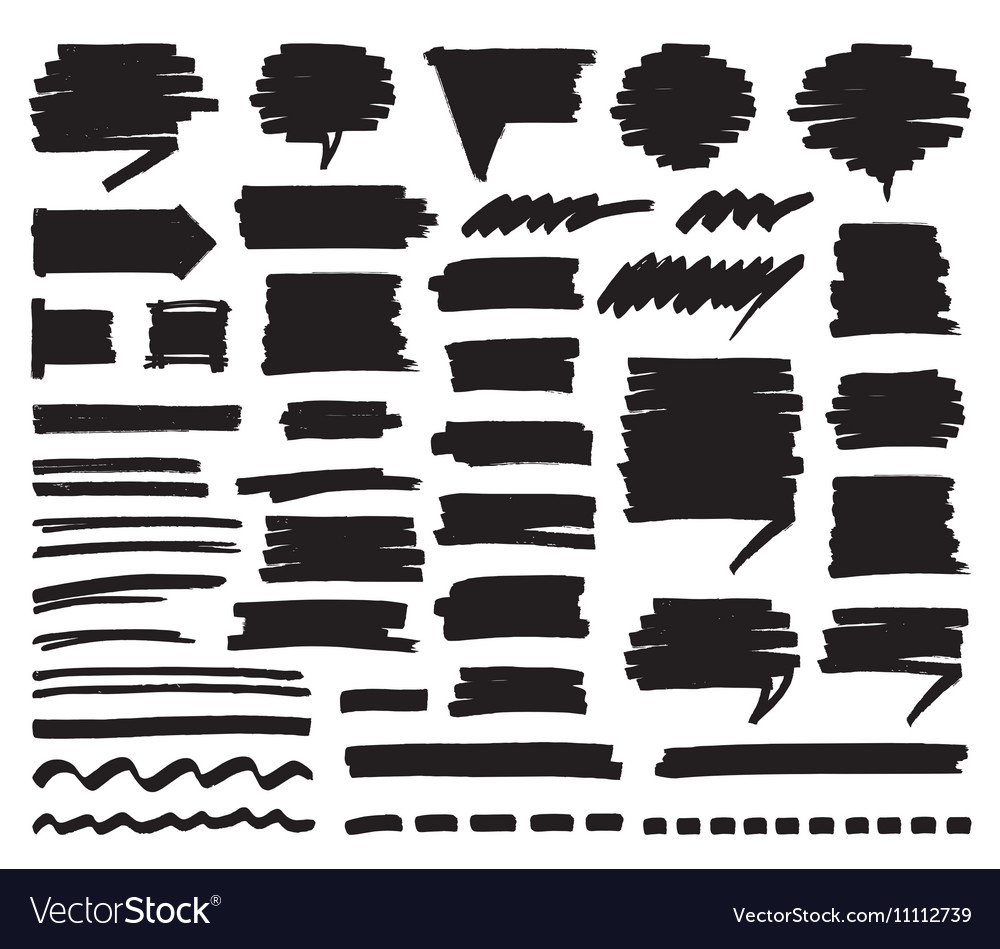 Marker Lines Strokes and Speech Bubbles vector image