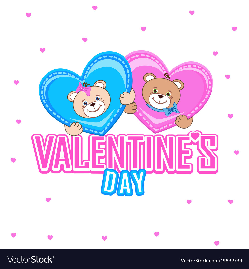 Postcard with a teddy bear and lovely hearts vector image