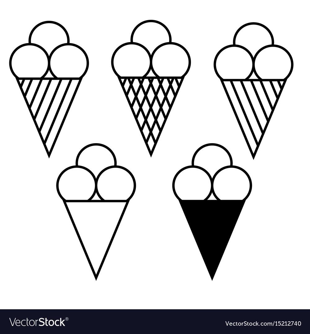 Set of ice cream symbols 908 vector image