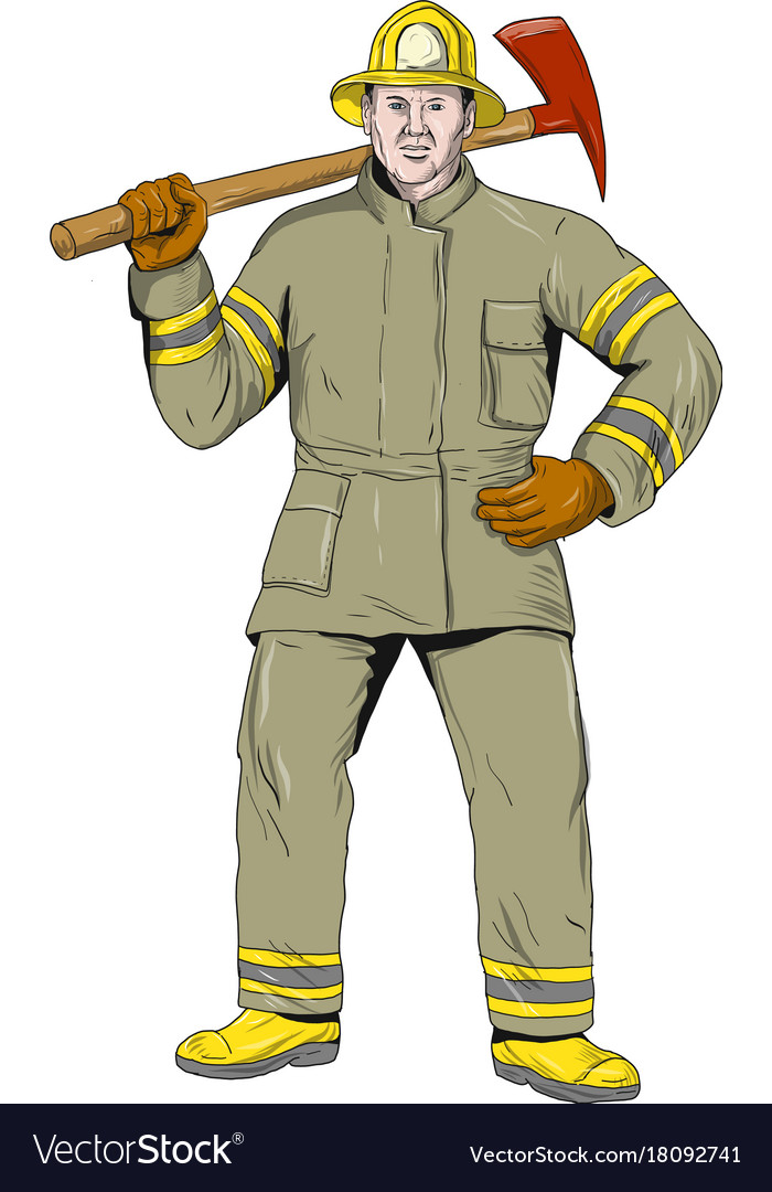American firefighter fire axe drawing vector image