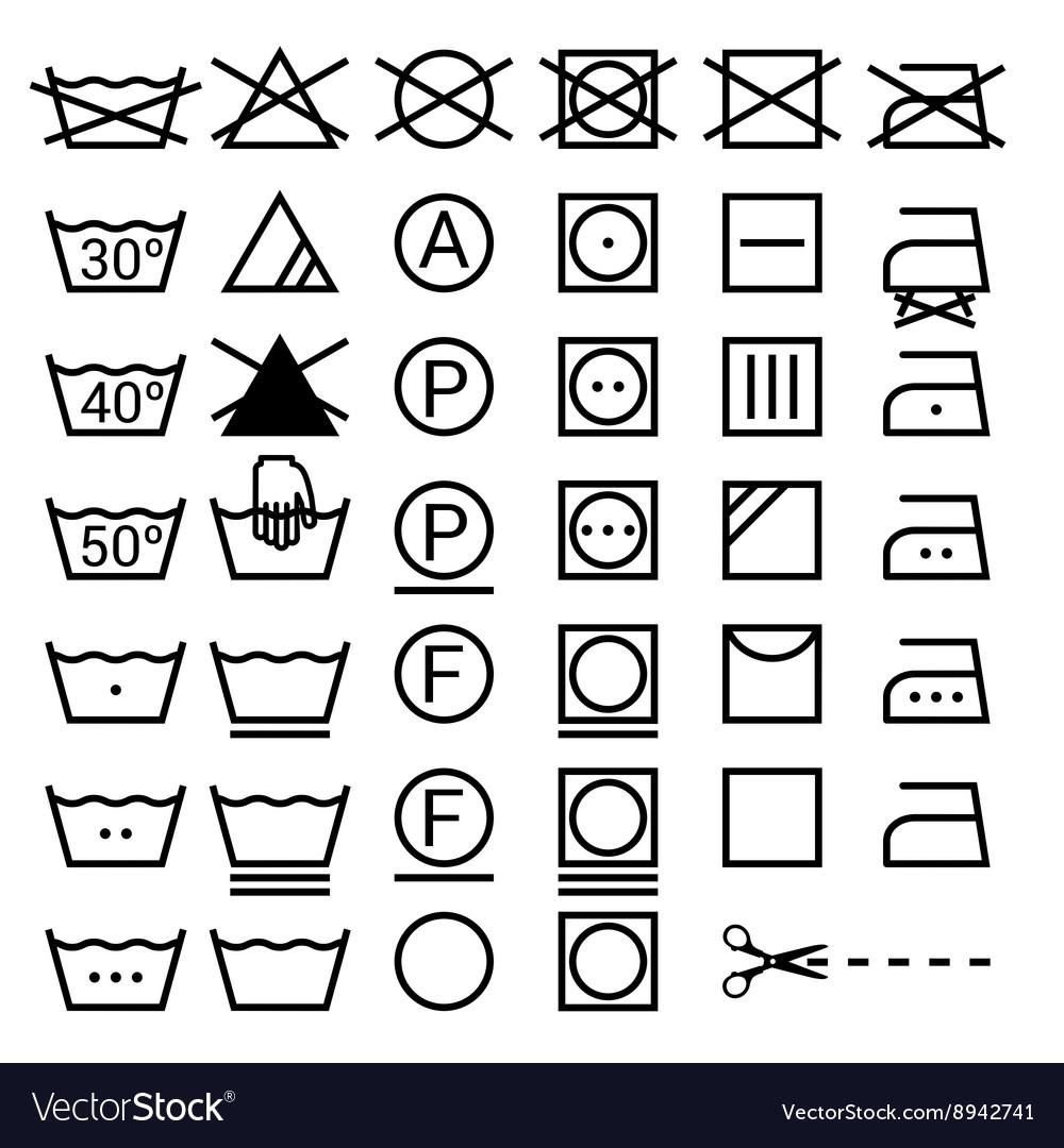 Set of washing symbols laundry icons isolated on vector image biocorpaavc Images