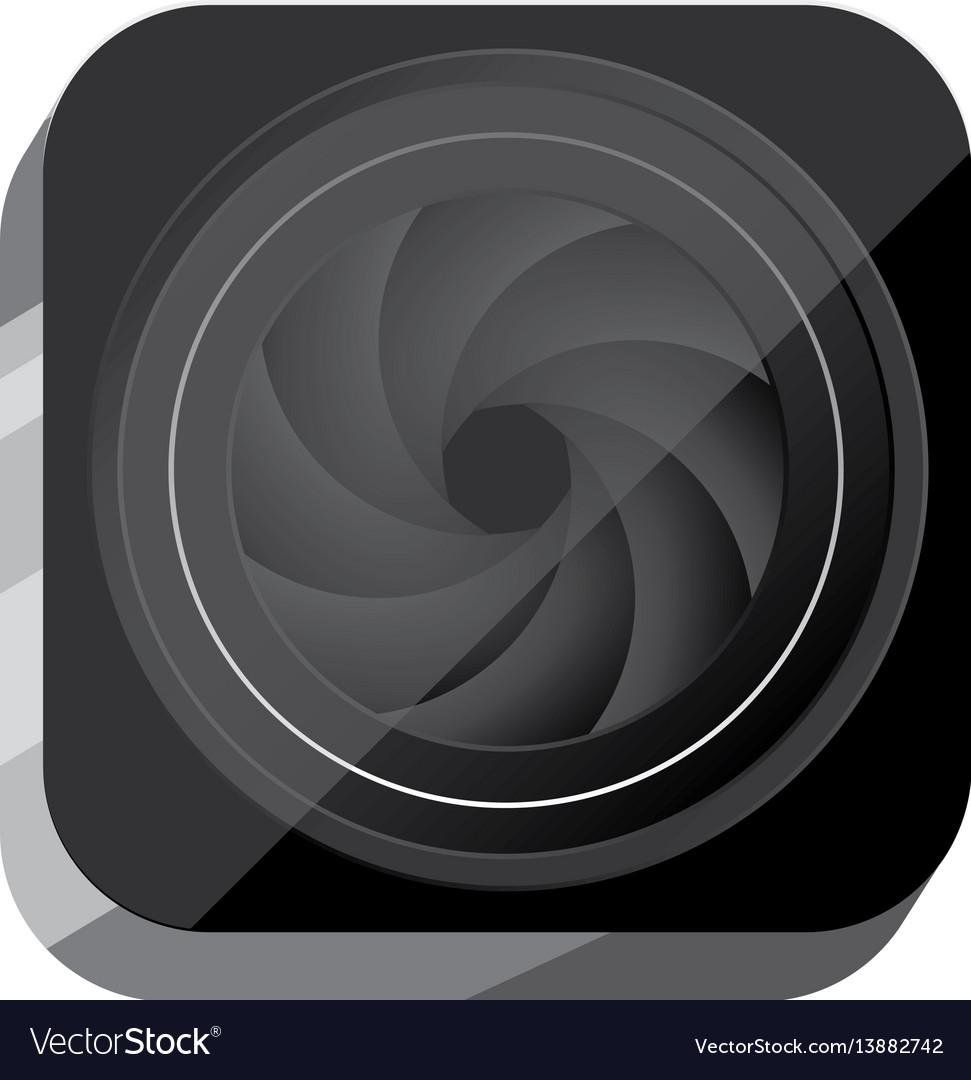 3d button close lens of digital camera vector image