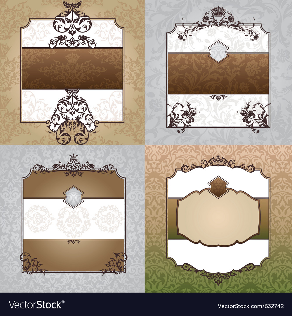Set of abstract decorative vintage frames vector image