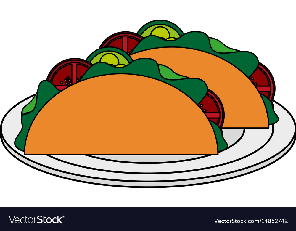 Color Image Cartoon Tacos On Plate Mexican Food In