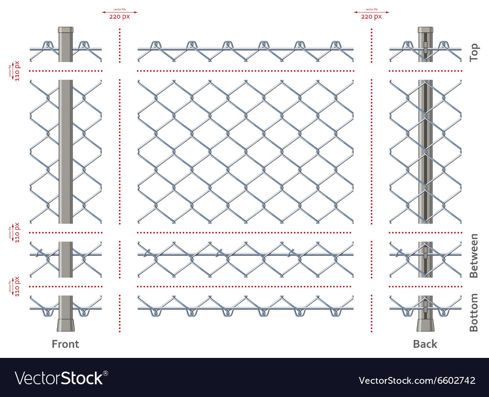 Highly detailed chain-link fence with no gradients vector image
