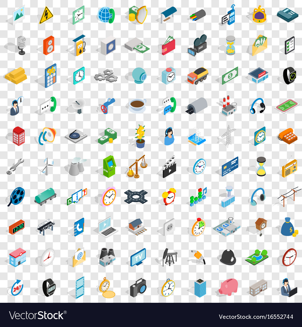100 phone icons set isometric 3d style vector image