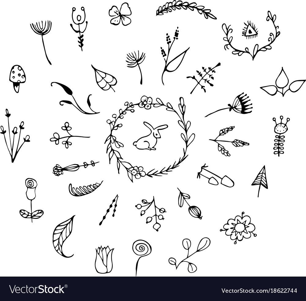 Hand drawn vintage floral elements set of vector image