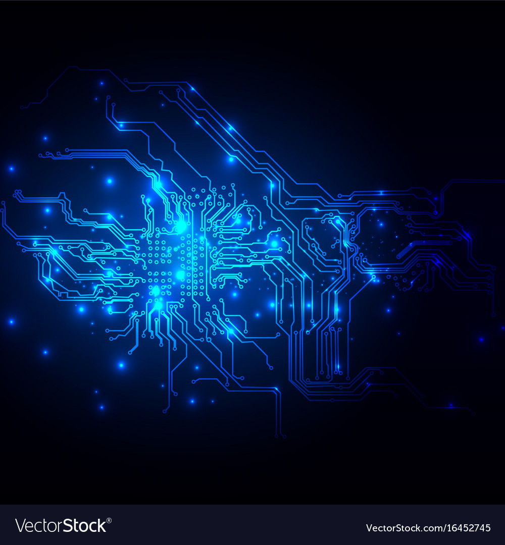 Abstract blue light circuit background technology vector image