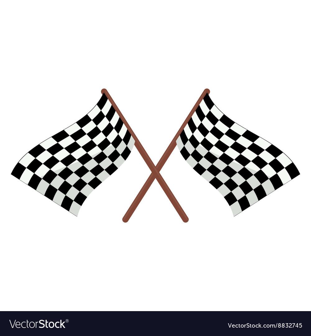 Checkered racing flags cartoon vector image
