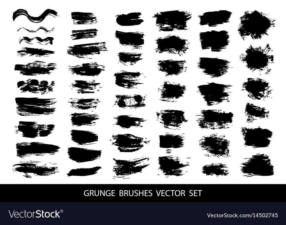 Set of black paint ink grunge dirty brush vector image