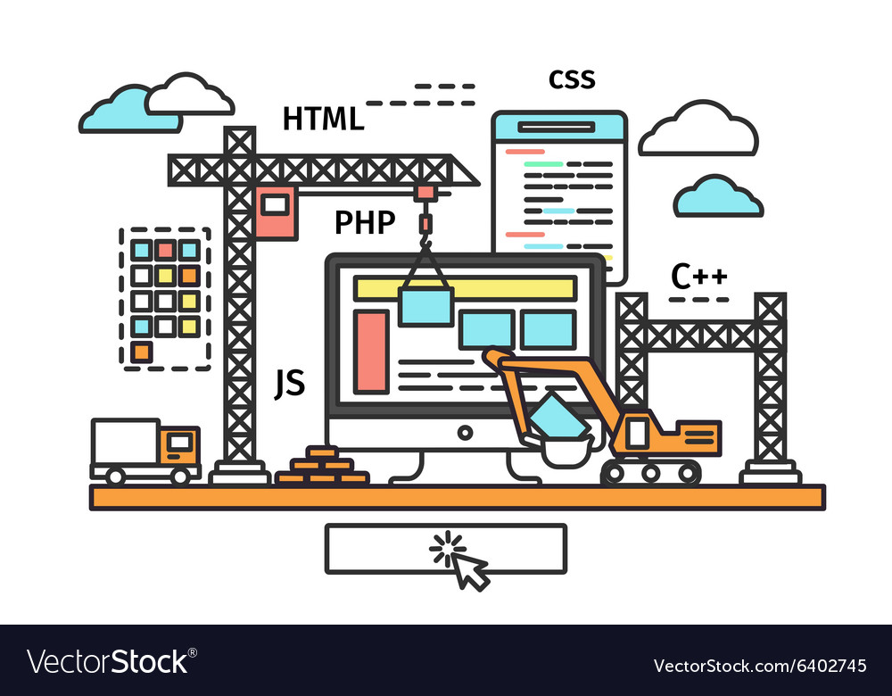Website building process vector image