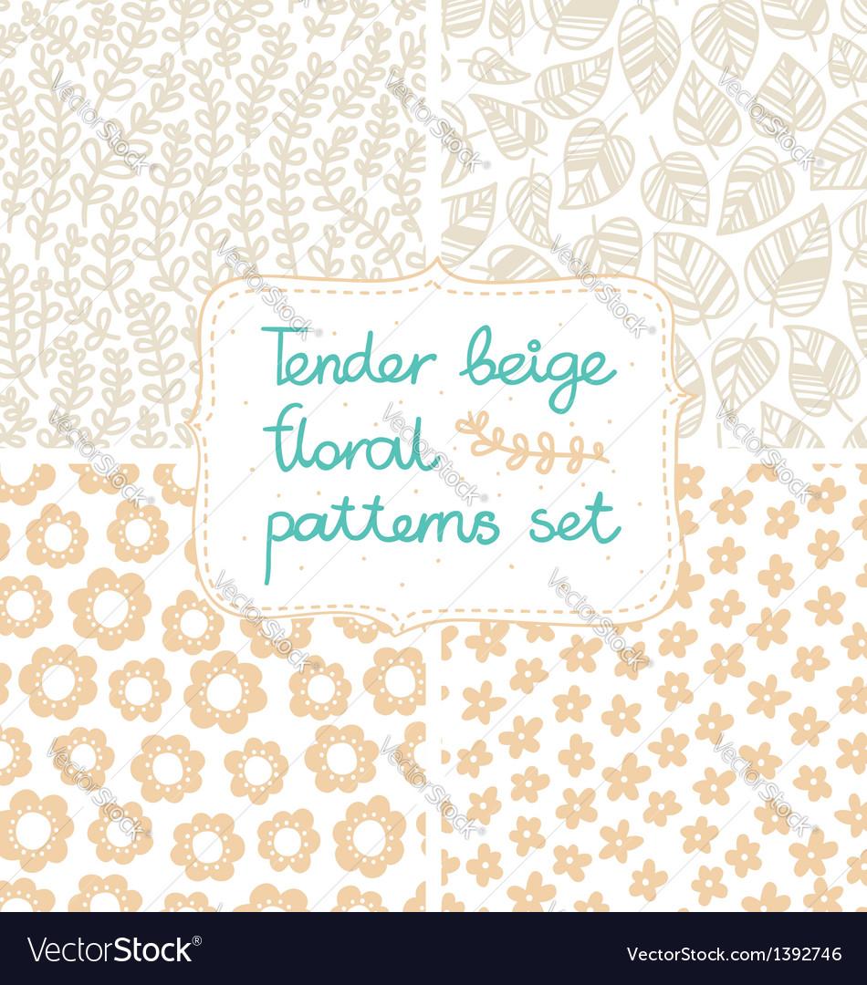 Beige patterns set vector image