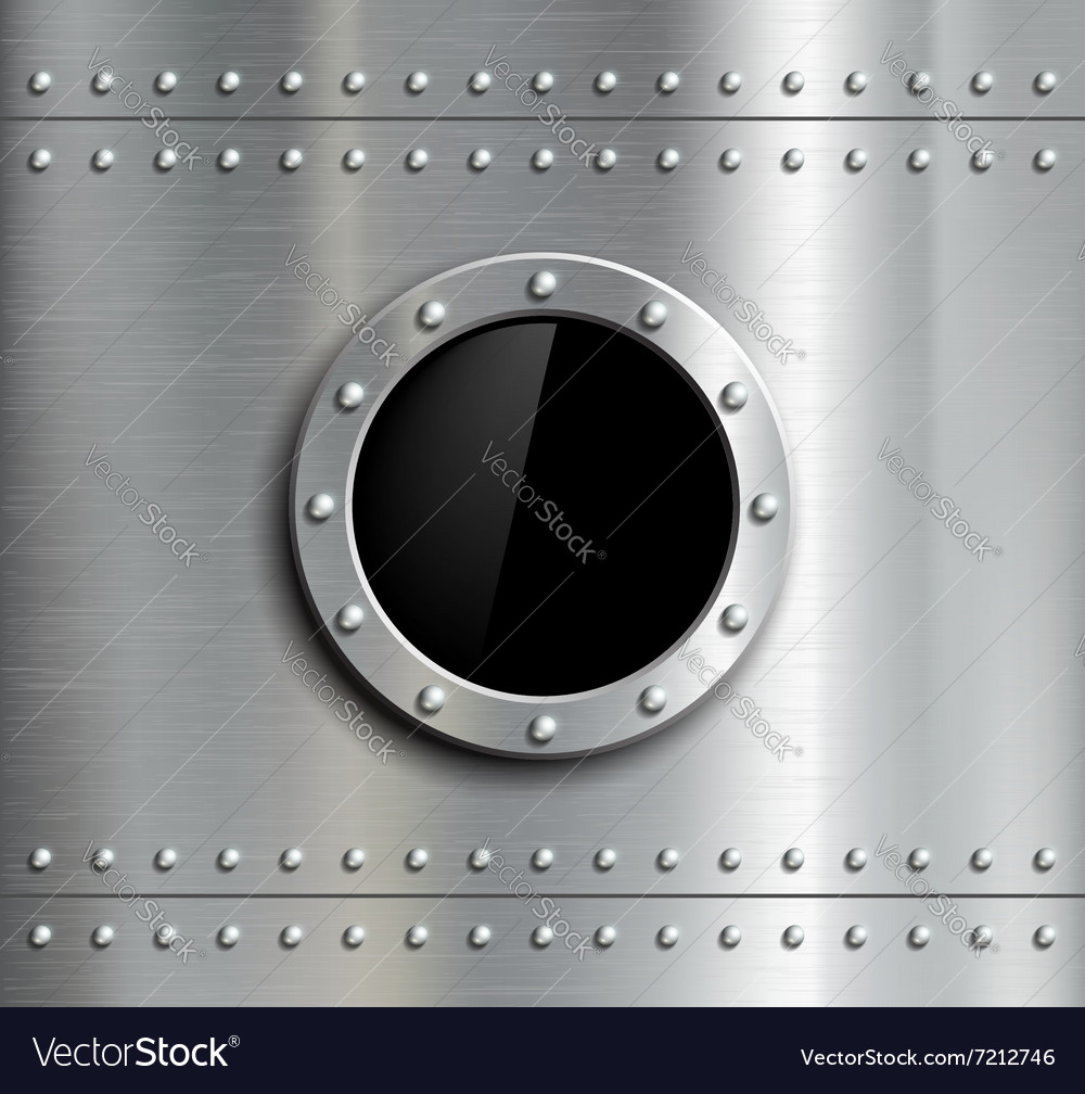 Round metal window with rivets vector image