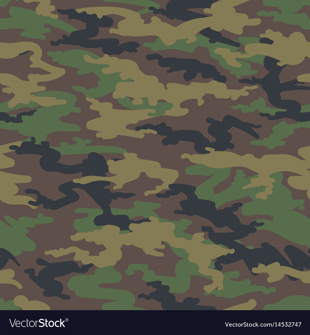 Woodland hunting camoflauge seamless pattern vector image