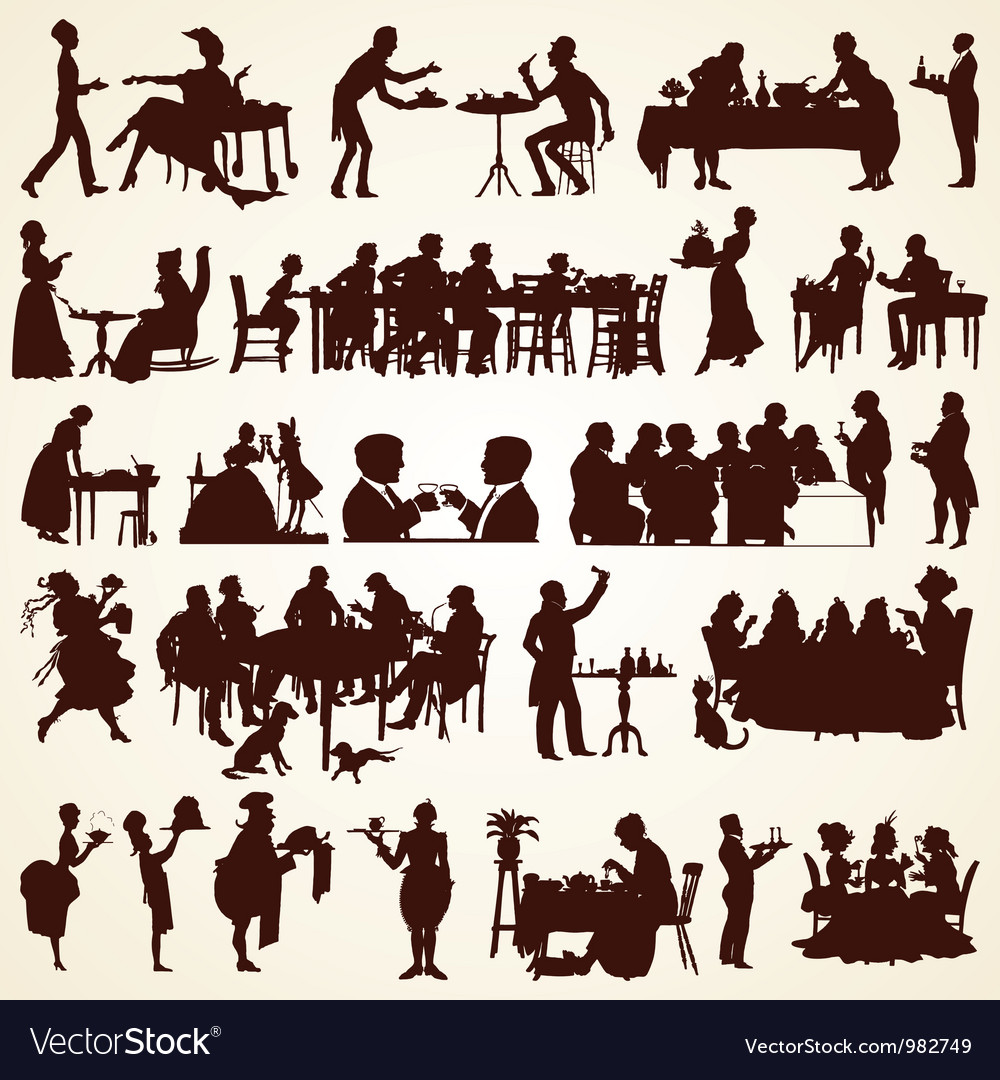 People Silhouettes Eating Dining Royalty Free Vector Image