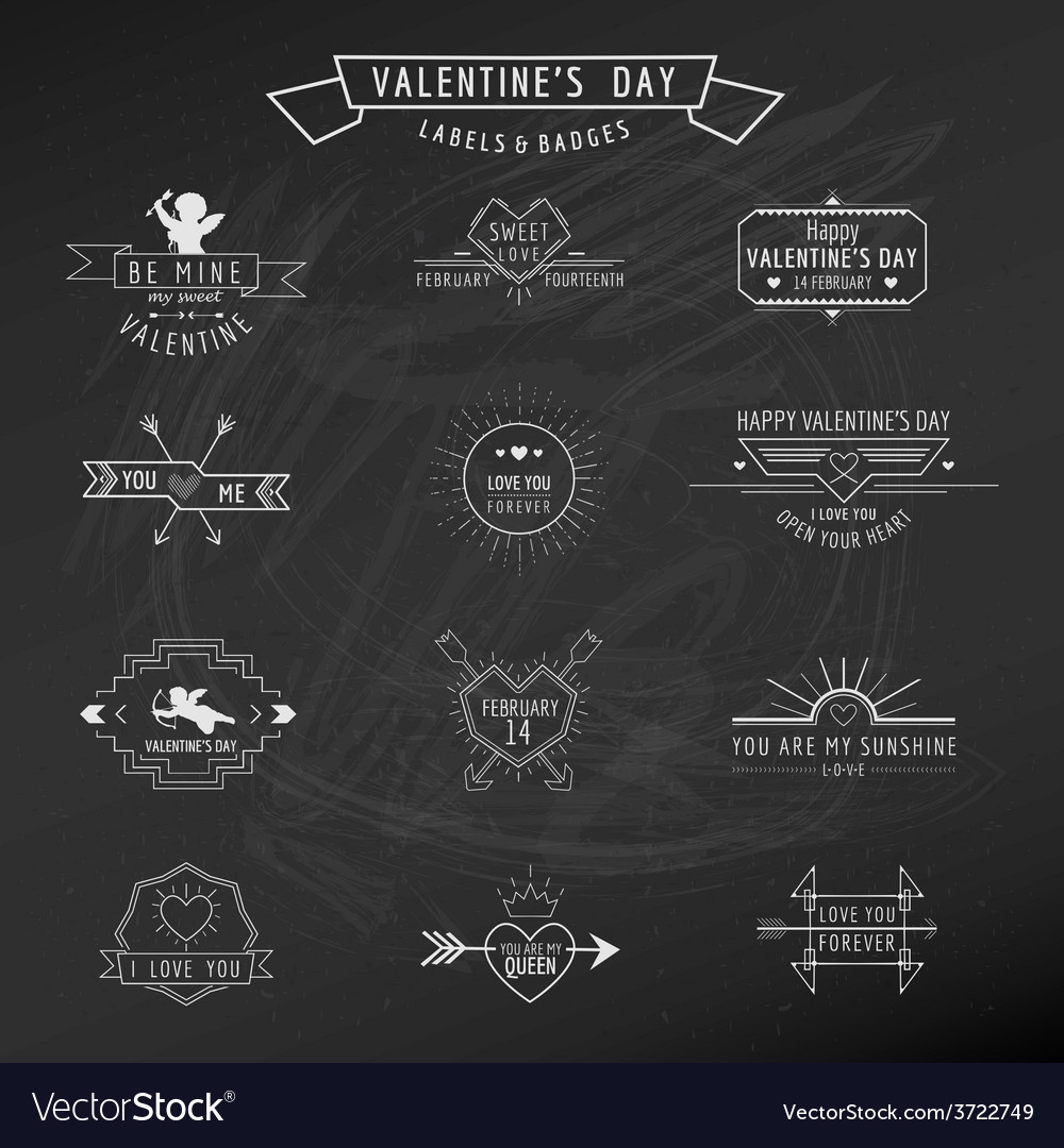 Valentines Day - Set of Badges and Labels vector image