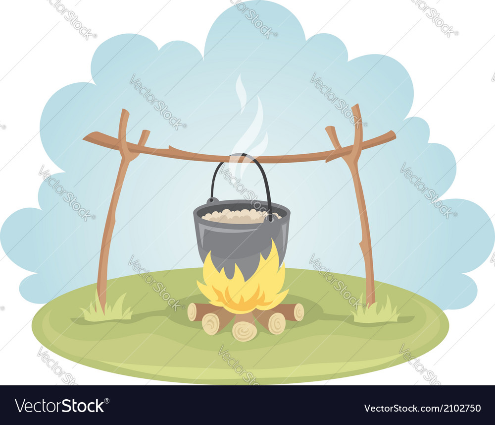 Pot with food on fire vector image