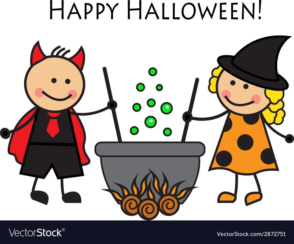 Cartoon people in costume Halloween vector image