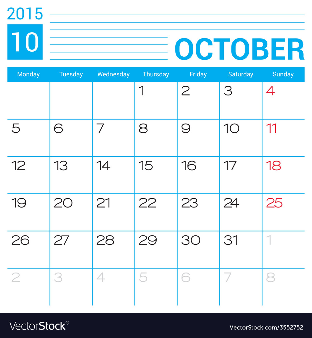October 2015 calendar page template royalty free vector october 2015 calendar page template vector image saigontimesfo