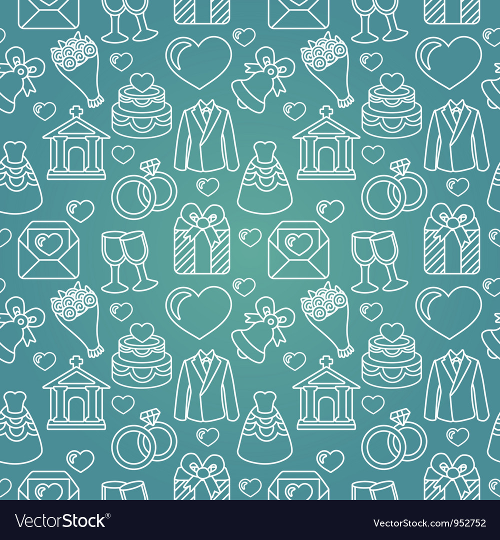 Seamless pattern with wedding icon vector image