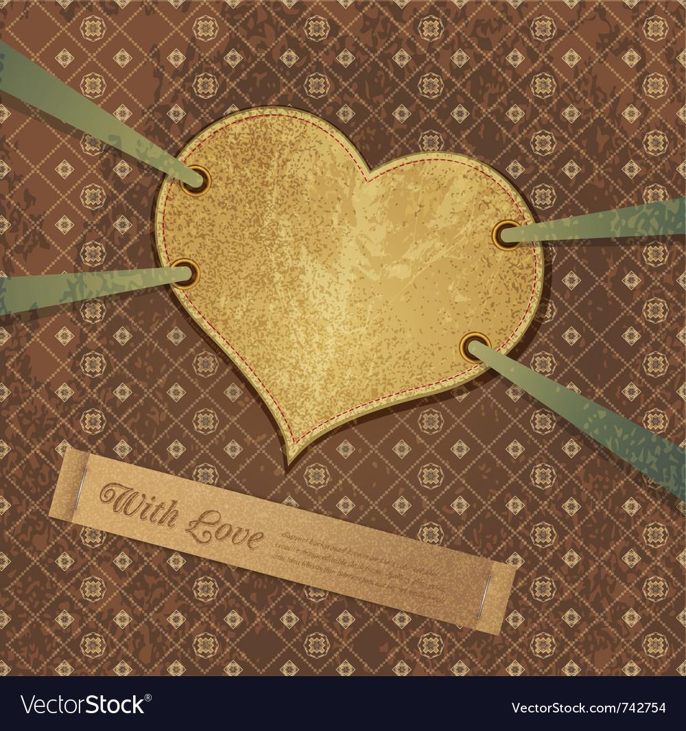 Romantic retro background with heart vector image