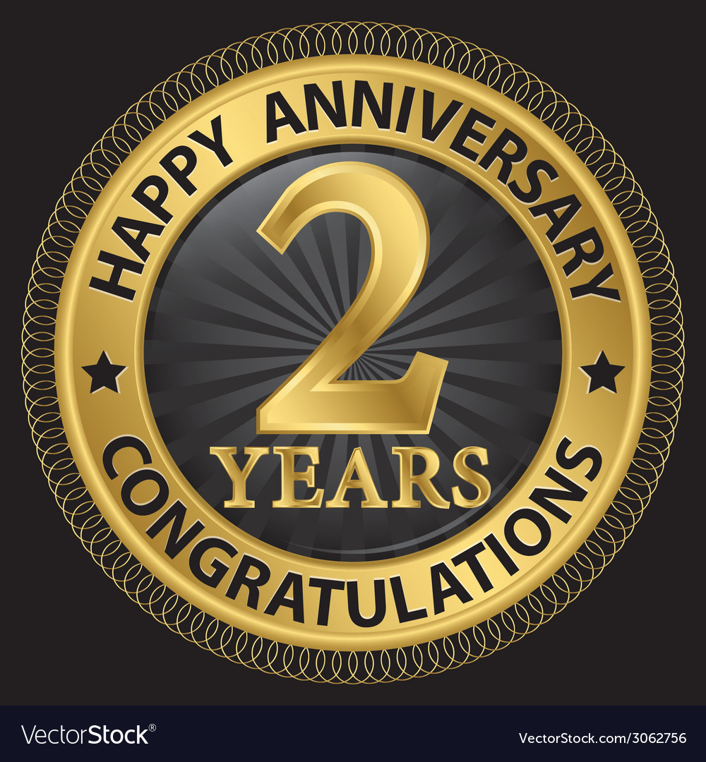 2 years happy anniversary congratulations gold vector image biocorpaavc Images