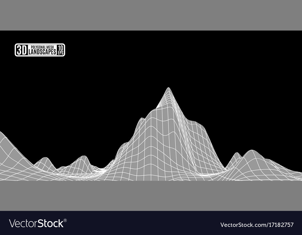 Abstract frame landscape cyberspace for vector image