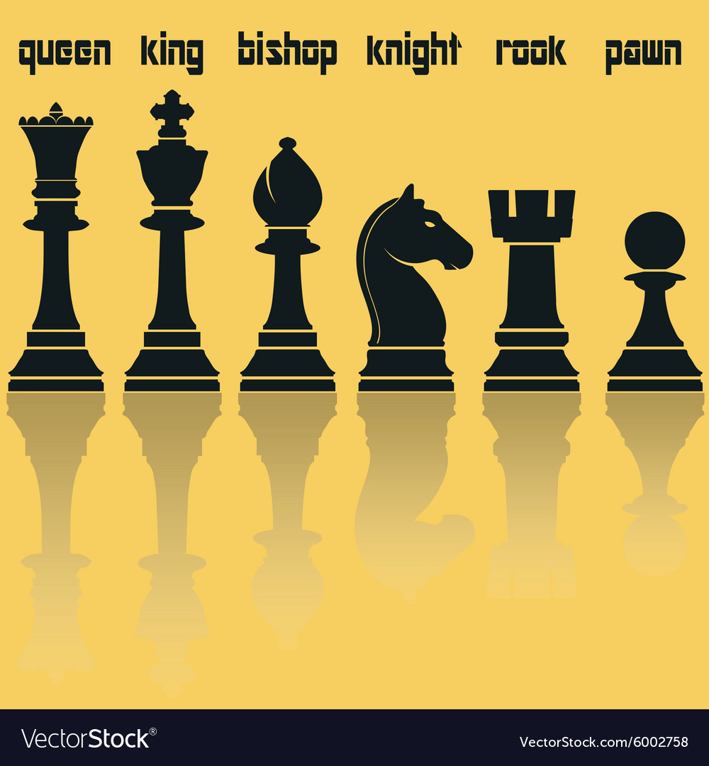 Chess Pieces Silhouettes with Reflection vector image