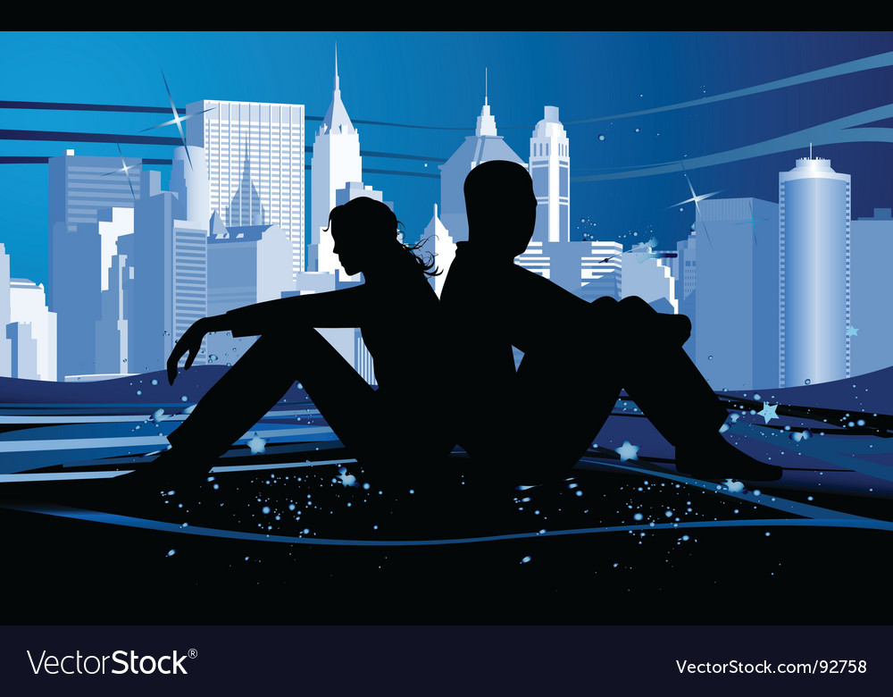 Couple in love at night vector image