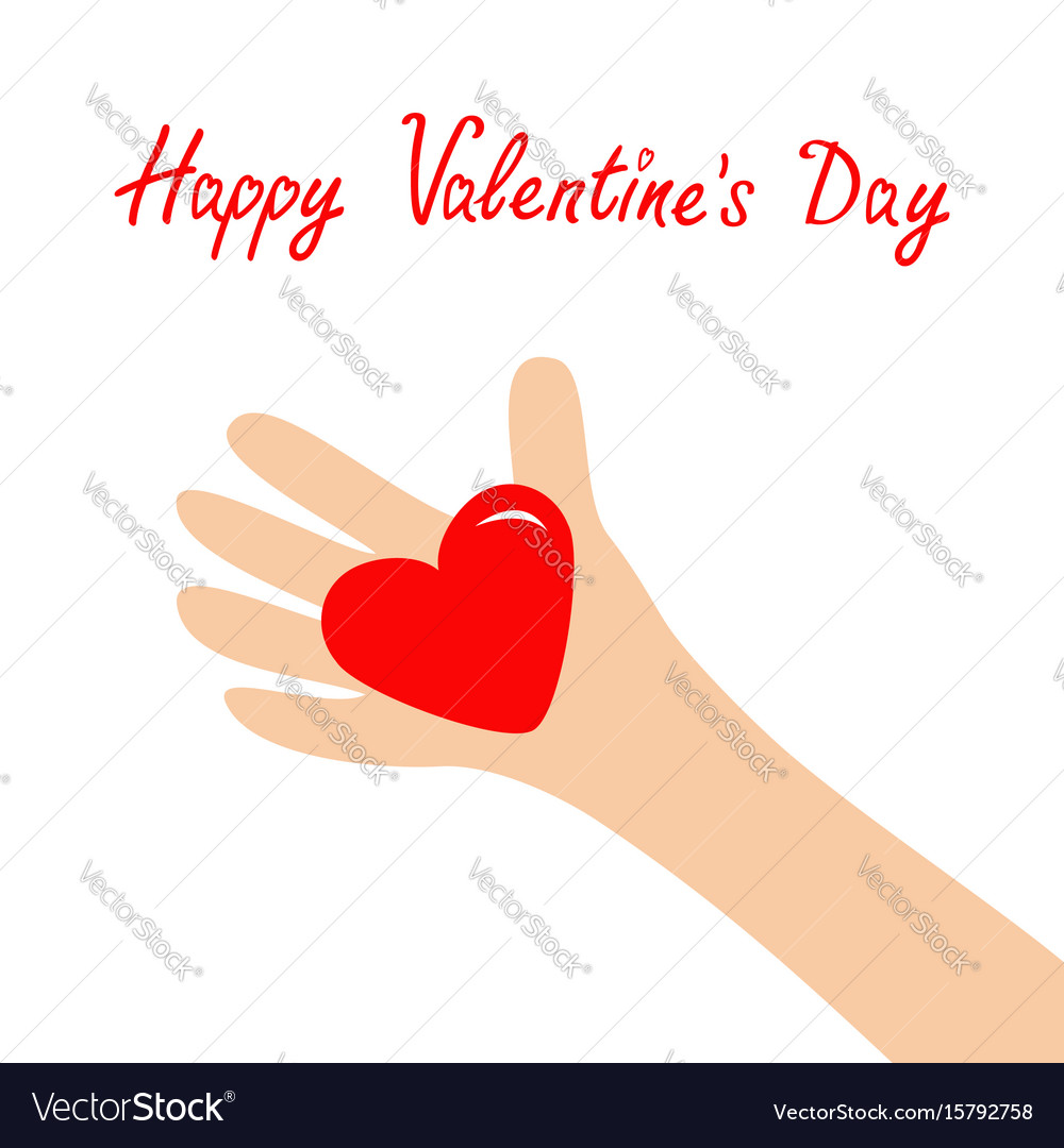 Happy valentines day hand arm holding red shining vector image