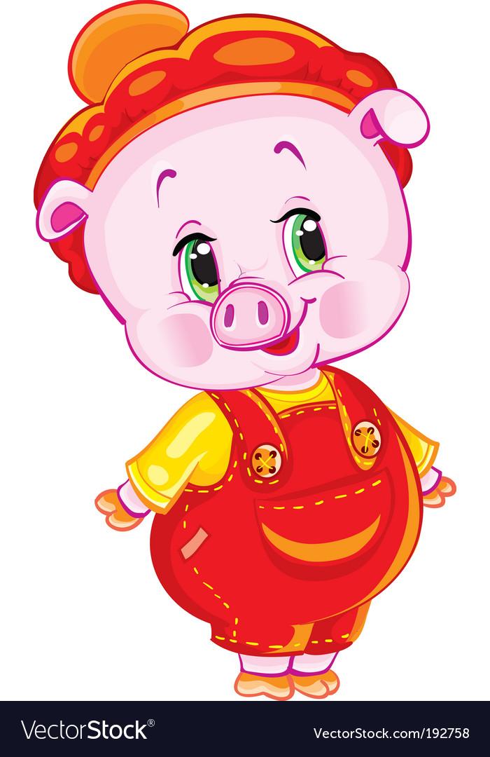 Pumpkin patch pig vector image