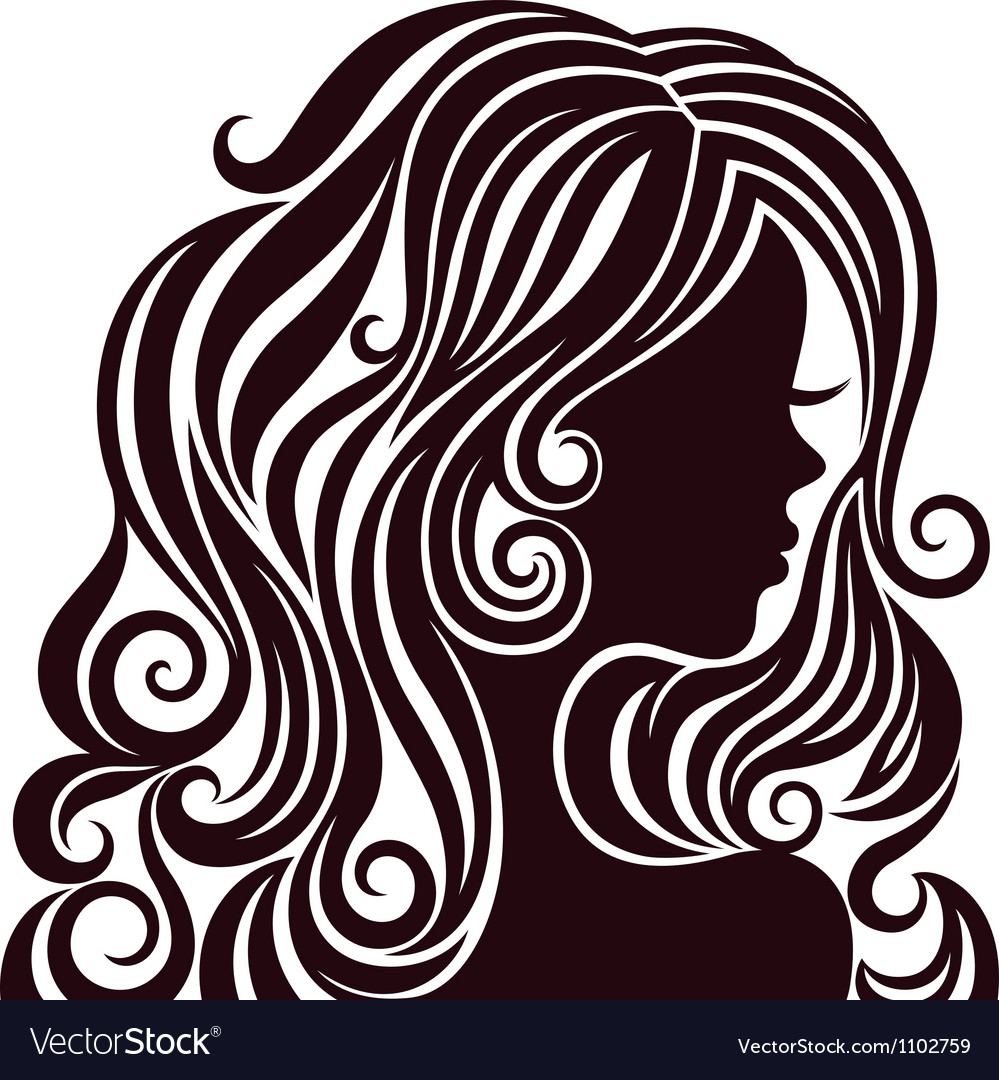 Silhouette of a young lady with luxurious hair vector image
