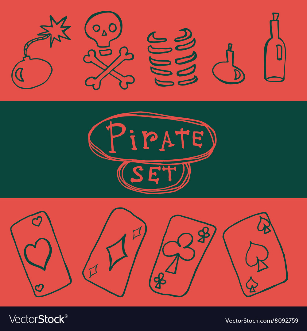 Set of pirate icon vector image