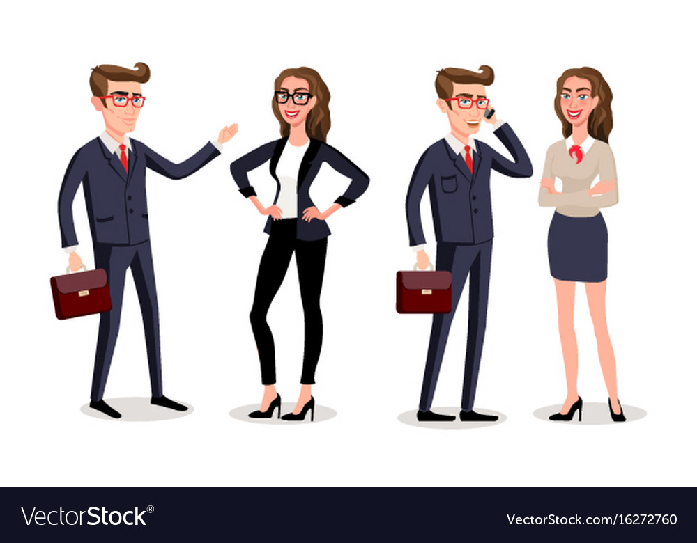 Business people with documents and gadgets vector image