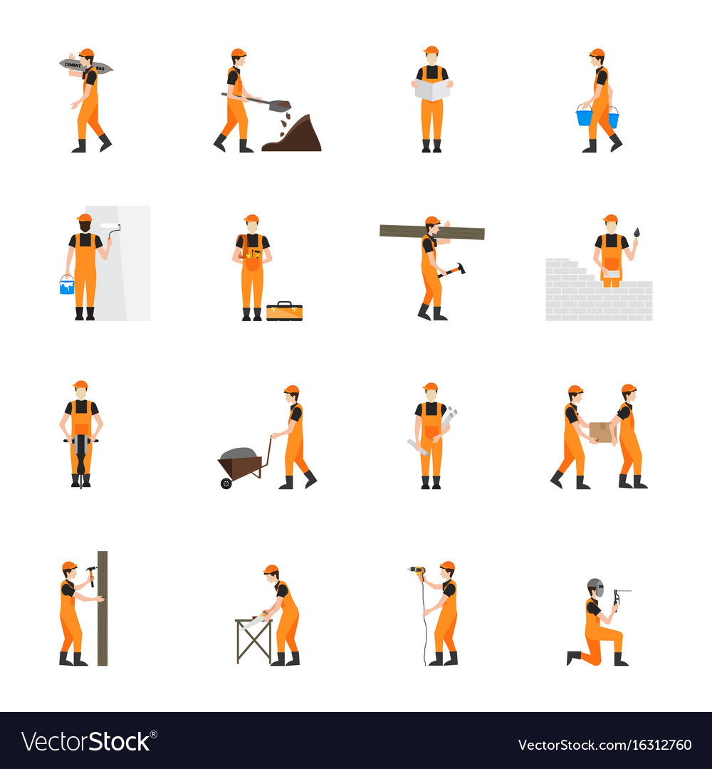 Construction worker man in helmet isolated on vector image