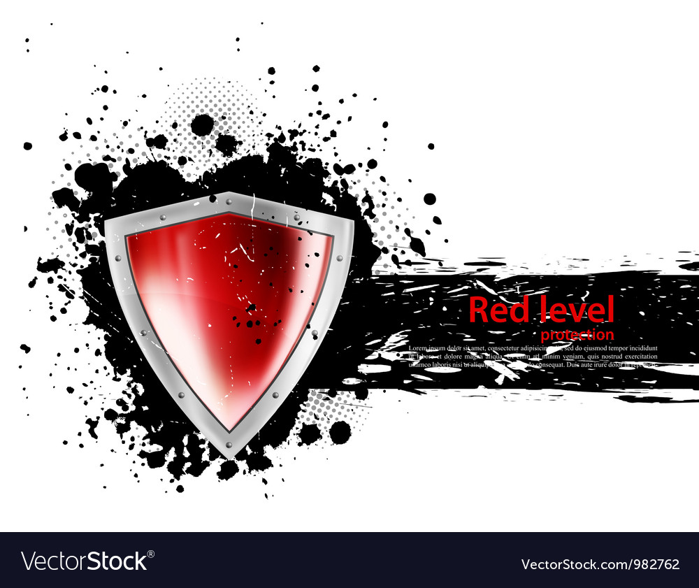 Grunge background with shield vector image