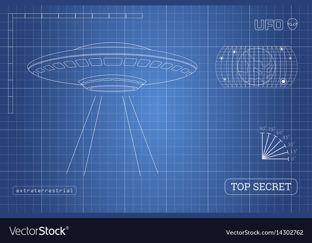 Blueprint of ufo technical document royalty free vector blueprint of ufo technical document vector image malvernweather Choice Image