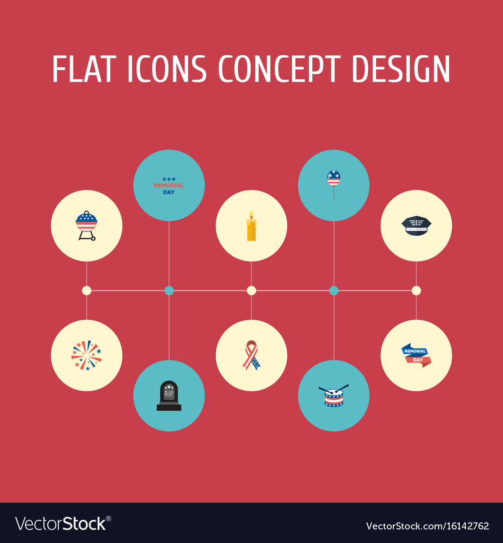 Flat icons holiday barbecue awareness and other vector image