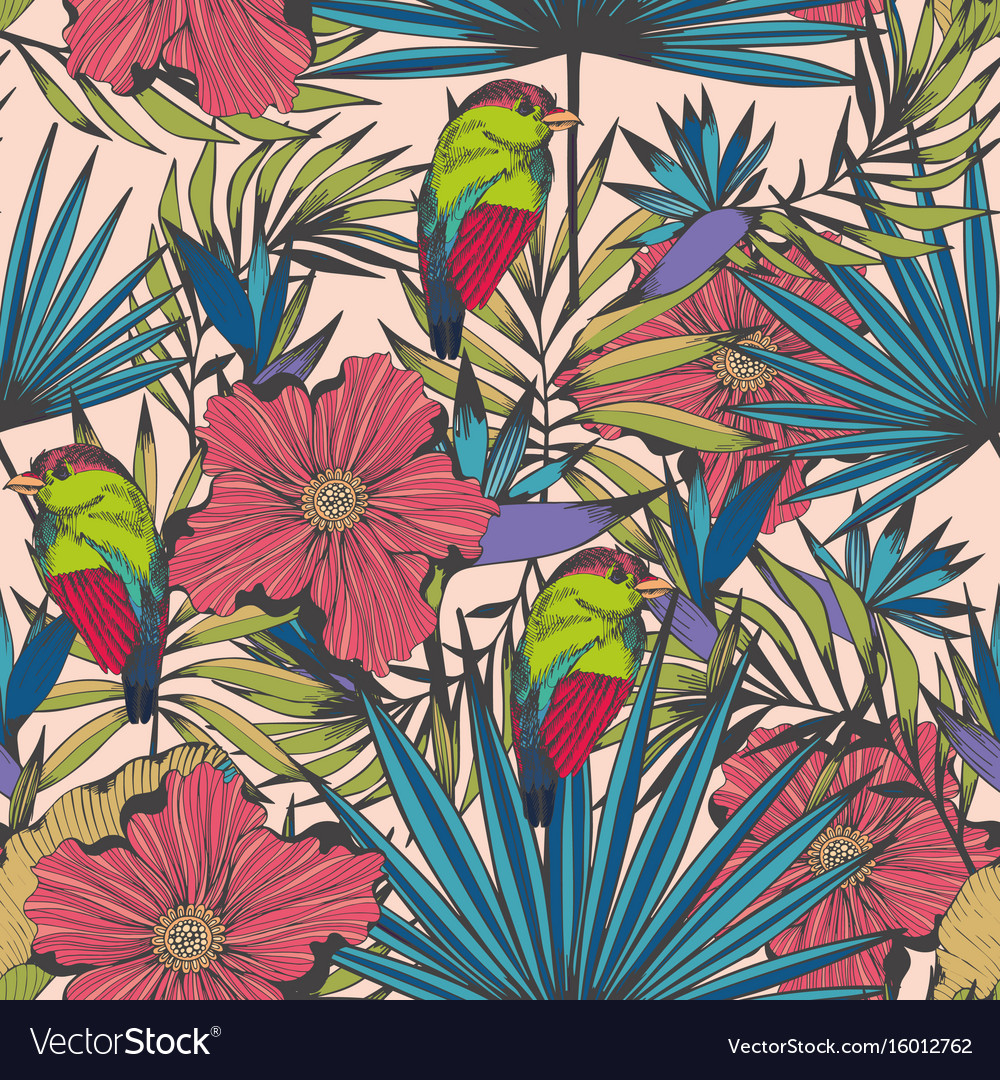 Tropical birds and plants seamless hand made vector image